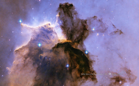 HubbleSite - Wallpaper: Stellar Spire in the Eagle Nebula