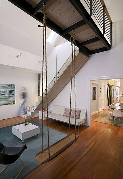 Apartment Therapy San Francisco Found Lofted Living Room Swing