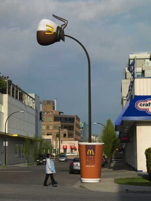McDonald's Lamp Post Makes Me Doubt My Mental Sanity Even More - McDonald's Coffee Lamp Post - Gizmodo