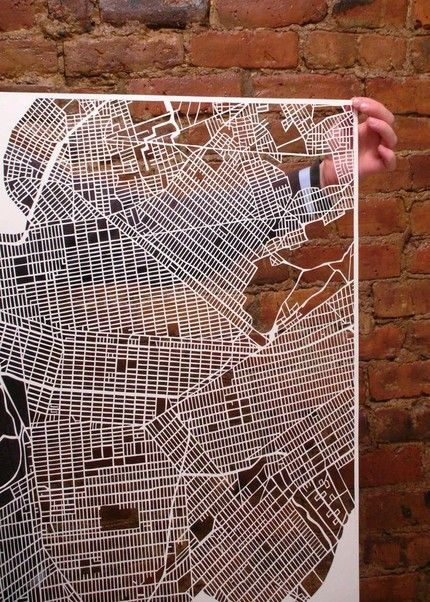 new york city map cuts by studiokmo on Etsy