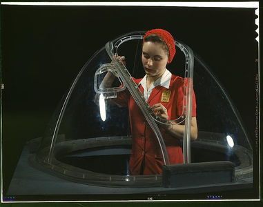 "Flickr Photo Download: This girl in a glass house is putting finishing touches on the bombardier nose section of a B-17F navy bomber, Long Beach, Calif. She's one of many capable women workers in the Douglas Aircraft Company plant. Better known as the ""Flying Fortress,"" the B-1"