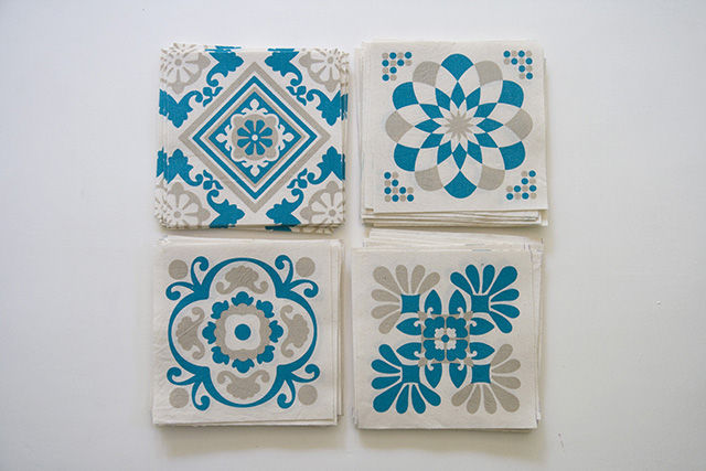 Flickr Photo Download: Screenprinted tiles on cotton (in beige   teal)