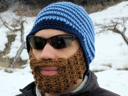 blue striped bearded beanie L XL by taraduff on Etsy