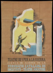 All sizes | 09 Antoni Clavé, poster, TEATRE DE I PER A LA GUERRA, 1938 | Flickr - Photo Sharing!