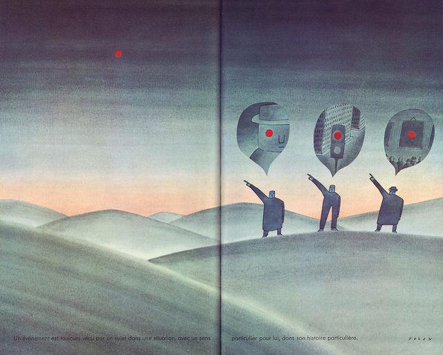 14 'Il n'existe pas deux etres qui vivent le meme evenment, illus. Folon (Le Livre de Sante, v.9, 1967) | Flickr - Photo Sharing!