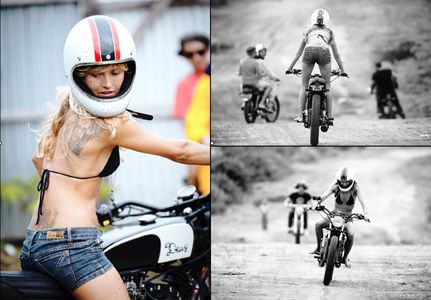 Vintage Motorcycle - surfing - bikini babe - motorcycle race - April 2011.png 950×661 pixels