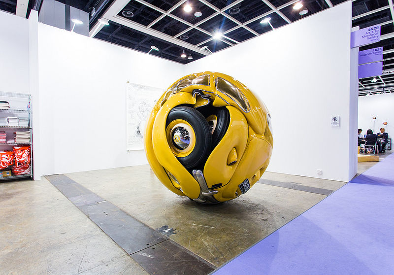 """""""Ichwan Noor (b. 1963): Beetle Sphere, 2013 (Aluminium, polyester, real parts from VW beetle '53, paint)""""   Art:1 by Mondecor Gallery   Art Basel Hong Kong 2013   SML.20130523.6D.14135 
