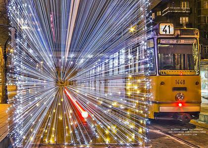 30,000 LED Lights Make The Trams In Budapest Look Like Time Machines