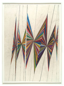 Mark Grotjahn - Untitled (large colored butterfly white background 10 wings)- Contemporary Art