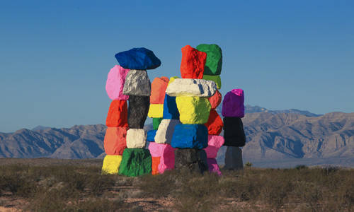 Ugo Rondinone's Seven Magic Mountains art installation in Las Vegas.