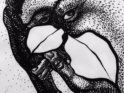 #art @elloart #drawing #analog #lowtech #ink #dotlinesurface #blackandwhite @ellotextures #figurative #leaf #beak - from @mplui on Ello.