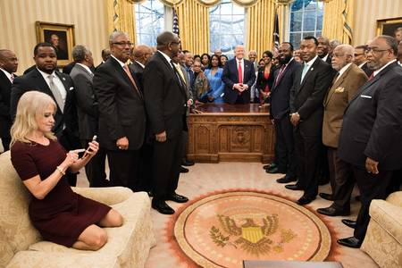 Kellyanne Conway kneels on sofa as black leaders visit White House  Metro News