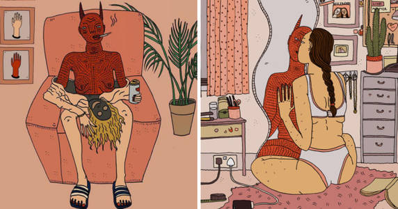 10+HonestIllustrationsOfModernWomenAndTheirDemonsByPollyNor(NSFW)BoredPanda