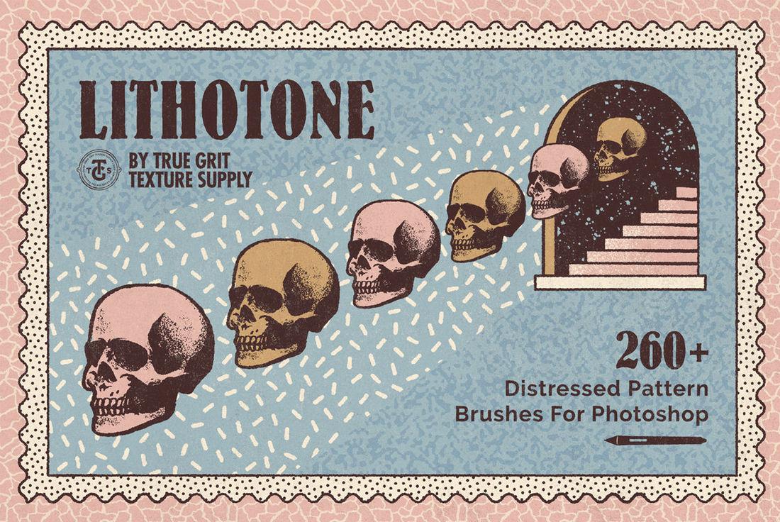 LithotoneDistressedPatternBrushesForPhotoshop