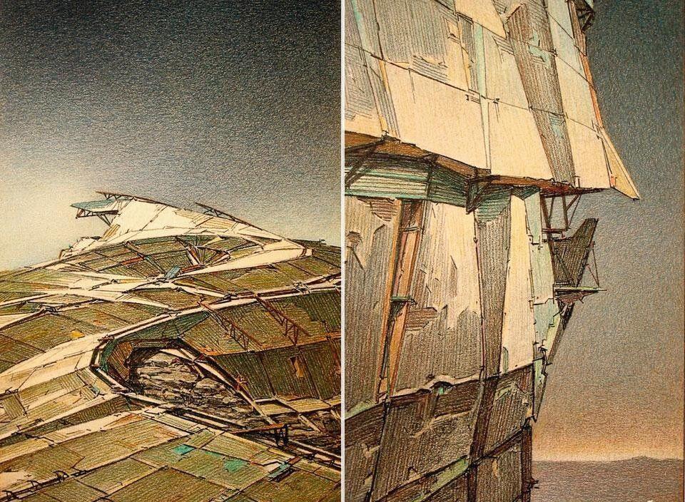 TopLebbeusWoods<em>UndergroundBerlin,</em>1988.Above:LebbeusWoods,<em>DMZ</em>,1988-1989